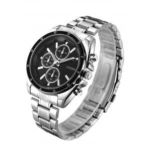 Number Steel Strap Quartz Watch - BLACK