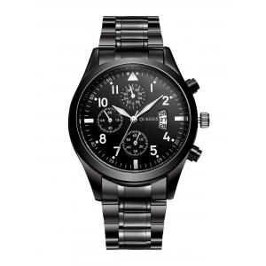 Stainless Steel Date Number Quartz Wrist Watch