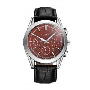 Faux Leather Strap  Date Quartz Watch - Red With Black - L
