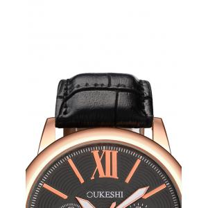 Faux Leather Roman Numeral Wrist Quartz Watch - BLACK