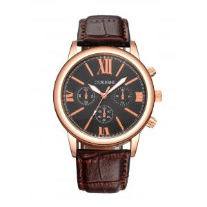 Faux Leather Roman Numeral Wrist Quartz Watch - Black And Brown