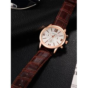 Faux Leather Roman Numeral Wrist Quartz Watch -