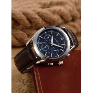 Faux Leather Strap  Date Quartz Watch - BLUE + BROWN