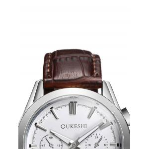 Faux Leather Strap  Date Quartz Watch - WHITE AND BROWN