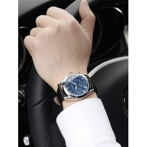 Faux Leather Strap  Date Quartz Watch - BLUE AND BLACK