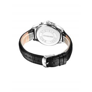 Faux Leather Strap  Date Quartz Watch - WHITE AND BLACK