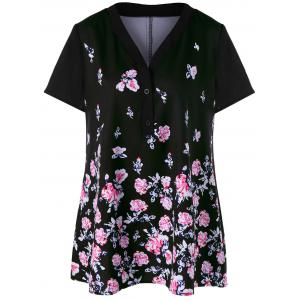 Floral Plus Size Long Henley T-Shirt
