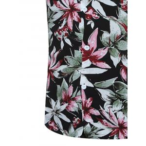 Short Sleeve 3D Florals Print Breathable Shirt - BLACK L