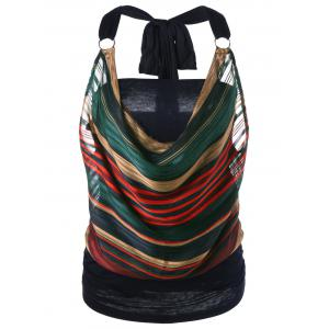Striped Halter Lurex Cowl Tank Top