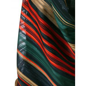 Striped Halter Lurex Cowl Tank Top - COLORMIX M