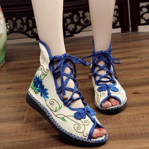 Embroidery Knot Button Peep Toe Shoes - BLUE 38