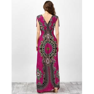 V Neck Sleeveless Ornate Print Empire Waist Maxi Dress -