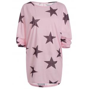 Star Print Long Sleeve T-Shirt Casual Dress - Pink - Xl