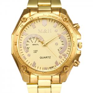 Steel Strap Tachymeter Analog Quartz Watch - GOLDEN
