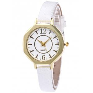 Faux Leather Glitter Strap Quartz Watch - White - One Size(fit Size Xs To M)
