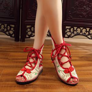 Embroidery Knot Button Peep Toe Shoes - RED 37