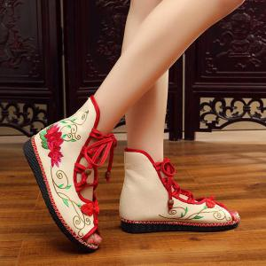 Embroidery Knot Button Peep Toe Shoes - RED 38