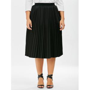 Plus Size Sparkly Pleated Midi Skirt