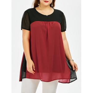 Colorblock Plus Size Chiffon Smock Top - Deep Red - One Size