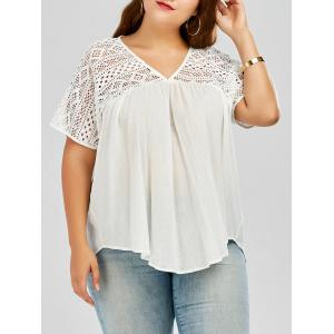 Hollow Out Pleated Plus Size Smock Blouse - White - Xl