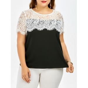 Plus Size Short Sleeve Lace Trim Top
