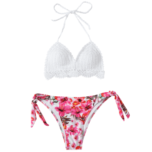 Scalloped Crocheted Floral Bikini Set - WHITE M