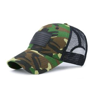 Rectangle Rubber Camouflage Fishnet Baseball Hat - Camouflage - One Size
