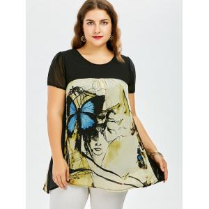 Plus Size Sweet Butterfly Print Asymmetrical Blouse -
