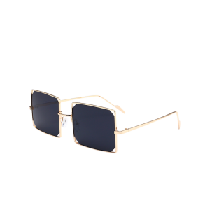 Cut Out Lens Metal Rectangle Sunglasses
