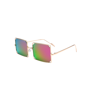 Hollow Out Mirrored Lens Metal Rectangle Sunglasses - Light Purple