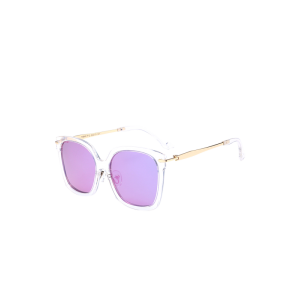 Metal Leg Mirrored Butterfly Sunglasses - Light Purple