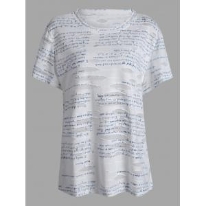 Letter Printed Plus Size Ripped T-Shirt