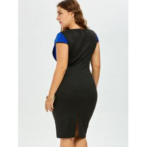 Plus Size Bow Embellished Knee Length Bodycon Dress - BLUE AND BLACK 5XL