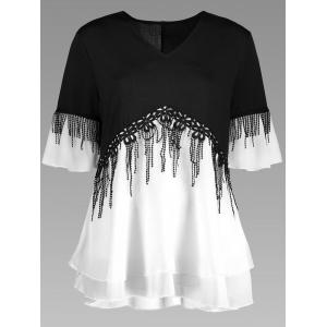 Plus Size Fringe Color Block Top