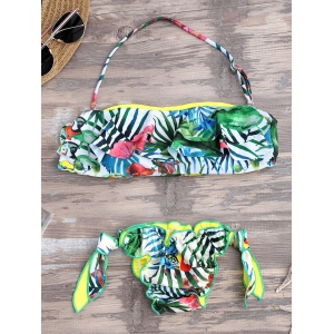 Removable Halter Strap Tropical Flounce Bikini
