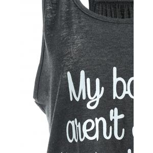 My Boobs Low Fat Graphic Tank Top - DEEP GRAY S