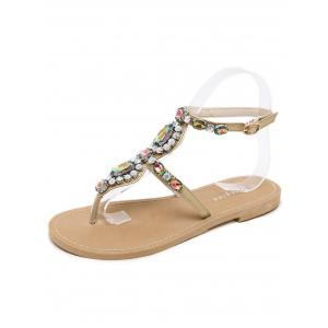 Flat Heel Fancy Coloured Diamond Sandals -