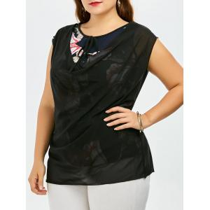 Plus Szie Overlay Sleeveless Floral Blouse