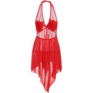 Halter Handkerchief Sheer Babydoll - RED ONE SIZE