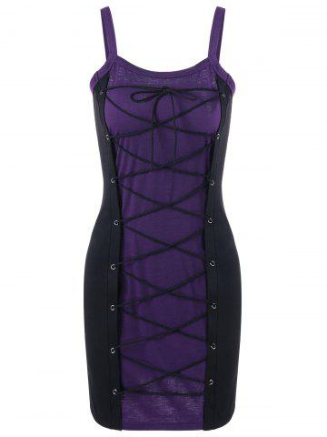 Sale Spaghetti Strap Lace Up Bodice Club Dress PURPLE XL