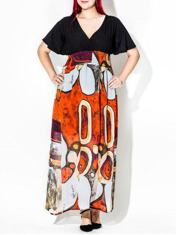 Printed Plus Size Maxi Dress with Short Sleeves - Black - 3xl