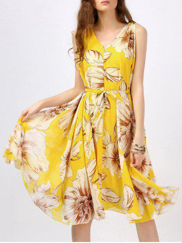 Floral Print Bohemian A-Line Dress - Yellow - S