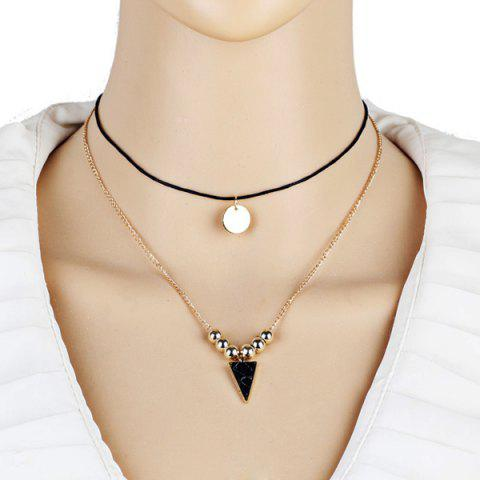 Sequin Triangle Beads Pendant Layered Necklace - Golden - 40