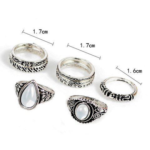 Latest Circle Teardrop Gypsy Ring Set - SILVER  Mobile