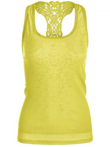 Sheer Lace Insert Racerback Tank Top - Yellow - One Size