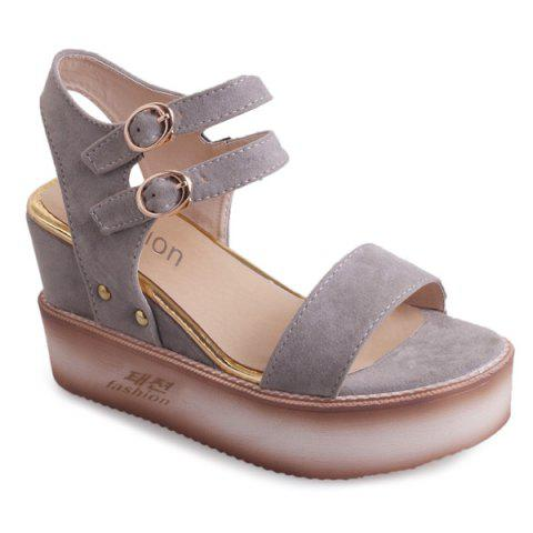 Hot Platform Double Buckle Strap Sandals - 38 GRAY Mobile