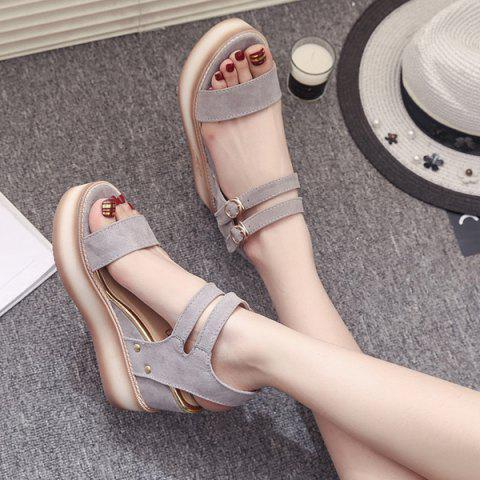 Affordable Platform Double Buckle Strap Sandals - 38 GRAY Mobile