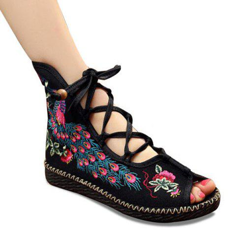 Lace Up Embroidery Peep Toe Shoes - Black - 37
