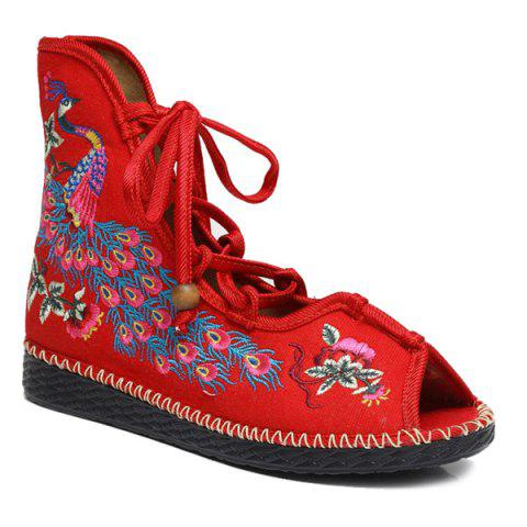 Outfits Lace Up Embroidery Peep Toe Shoes RED 39