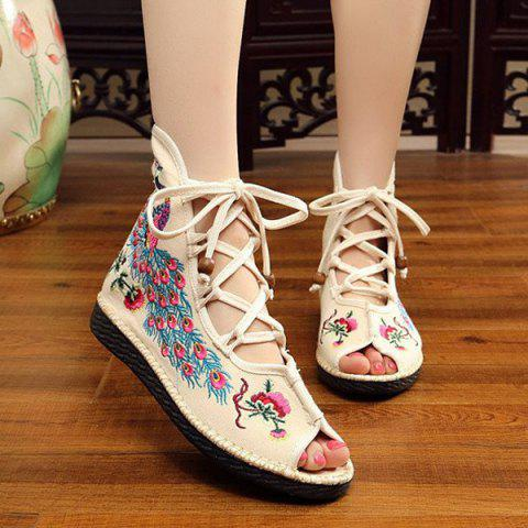 Trendy Lace Up Embroidery Peep Toe Shoes - 38 OFF-WHITE Mobile